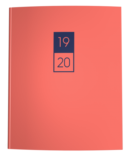 Living Coral and Navy Blue Academic Planner 2019-2020