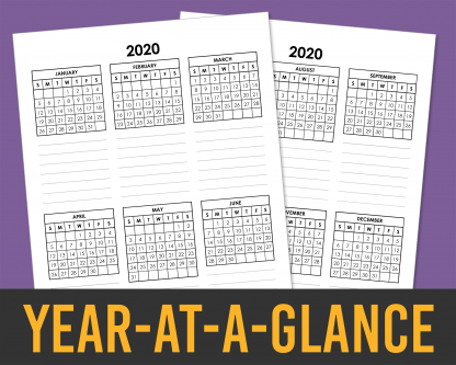 2020 Year-At-A-Glance Annual Overview with Mini Calendars and Event Lists