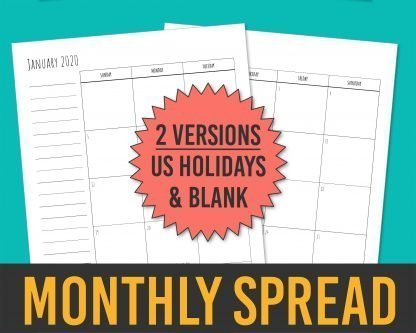 Printable 2020 Calendar Months Templates - Skinny Handwriting 2-Page Monthly Spread