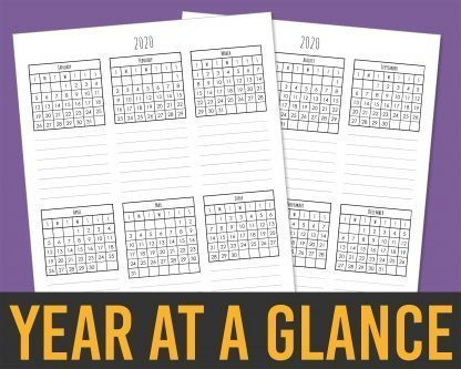 Printable 2020 Calendar Months Templates - Skinny Handwriting Year-At-A-Glance