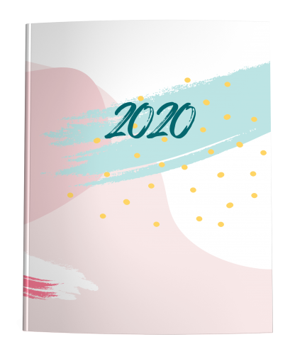 Pastel Paint Abstract with mint green and blush pink on white and 2020 in brush lettering