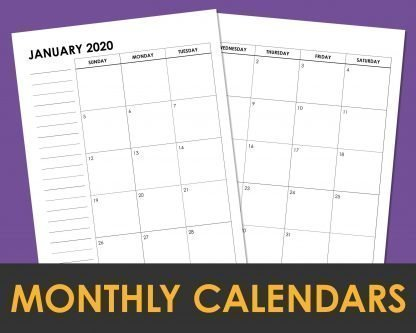 2020 Monthly Calendar Planner Layout