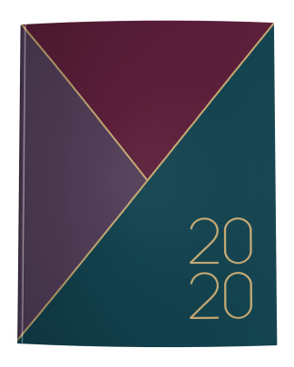 2020 Planner Cover in Merlot Maroon, Plum Purple, and Dark Teal