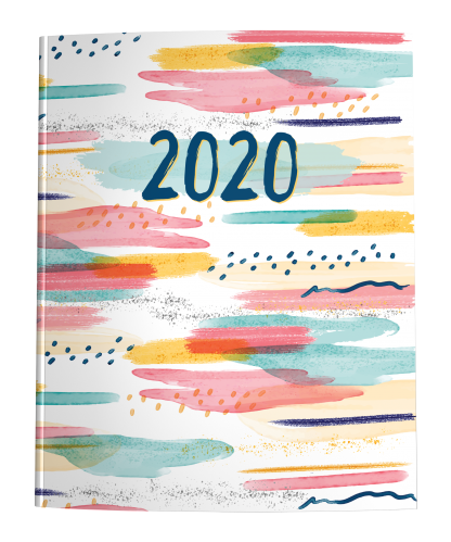 2020 Dated Planner with monthly calendars, weekly spreads of daily appointment schedules, and graph + dot grid for habit trackers.