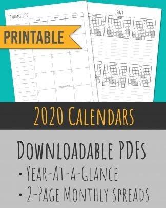 Printable 2020 Calendar Months Templates - Rae Dunn Skinny Handwriting