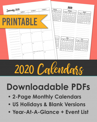 2020 Printable Calendars - Brush Lettering - 2-Page Spread