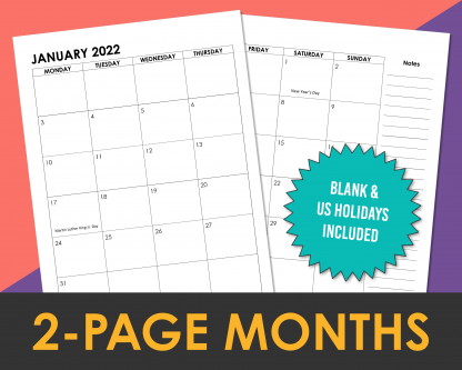 2022 2-page monthly calendar spread for planners