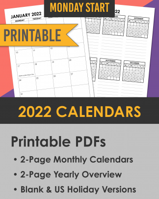 2022 printable calendars with 2-page monthly spreads and yearly overview with event list. Monday start.