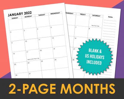 2022 2-Page Calendar Months Printable Planner