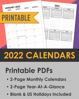 2022 Calendars Printable PDFs Sunday Start