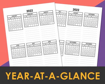 2022 Year At A Glance Printable Calendar