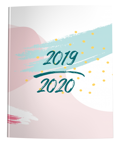 2019-2020 dated academic planner with pastel abstract cover in blush pink and mint green