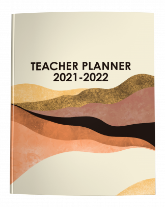 2021-2022 Teacher Planner with Midcentury Modern Abstract Landscape in Earth Tones