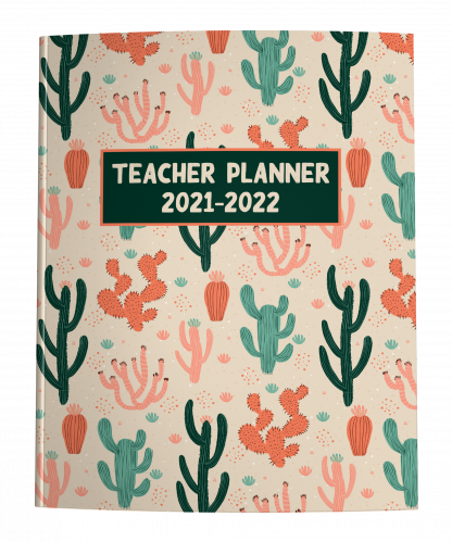Teacher Planner with Desert Cactus Cover in Peach and Mint Green Earth Tones