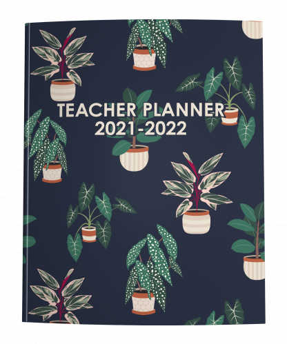 2021-2022 Teacher Planner with House Plants on Navy Blue