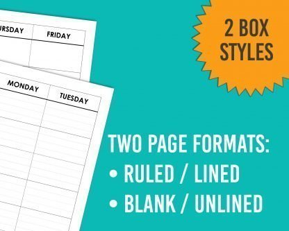 Two Page Formats: Lined and Unlined