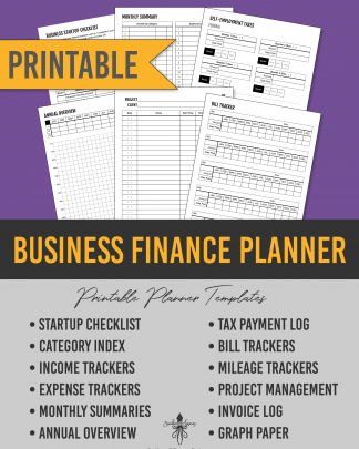 Business Finance Printable Planner Inserts for Budgeting, Accounting, and Tracking