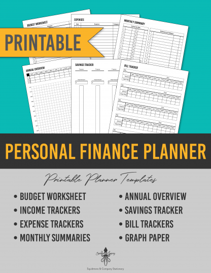 Personal Finance Planner Printable Planner Insert for Budgeting, Accounting, and Savings