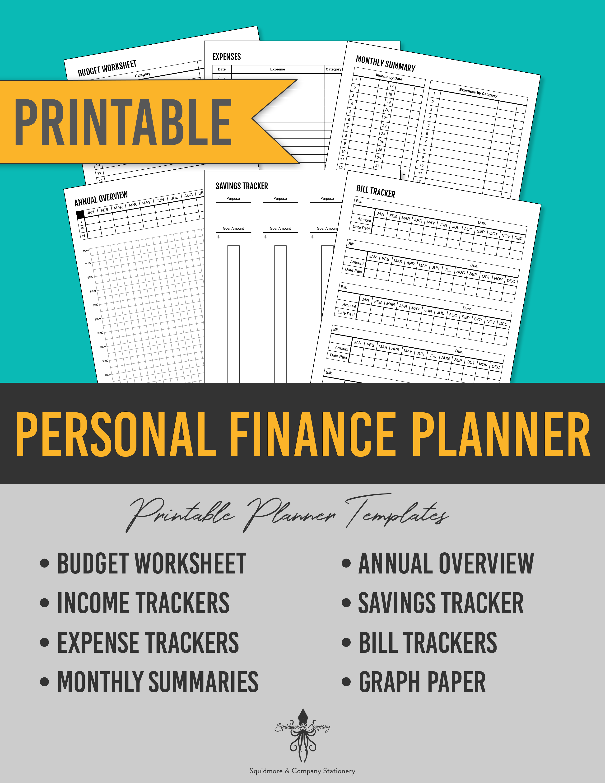It's just a picture of Printable Financial Planner throughout household budget