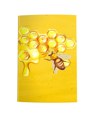 Painting of a bee on Honeycomb dripping with honey