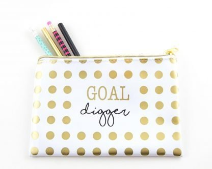 Goal Digger Gold Polka Dot Pencil Pouch