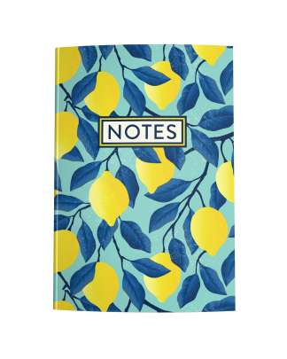 Lemons on Teal Blue Blank Journal