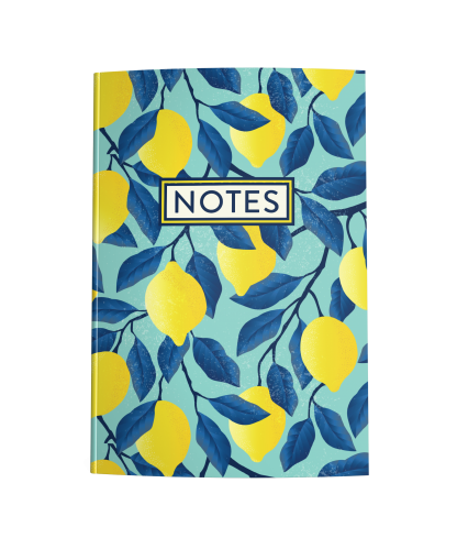 Lemons on Teal Blue Blank Journal