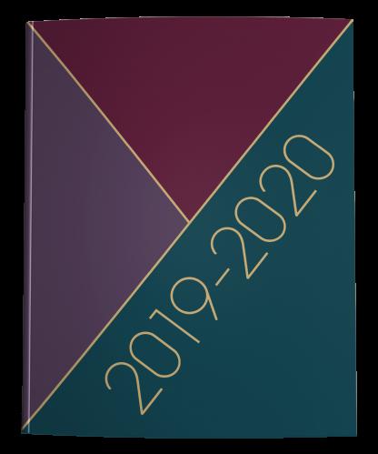 2019-2020 Teacher Lesson Planner Winter Tricolor Maroon Teal Purple