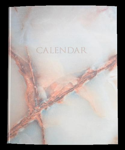 White Marble Minimalist Calendar Planner