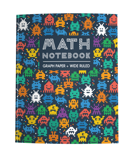 Math Notebook with Half Graph Paper Half Wide Ruled Pages