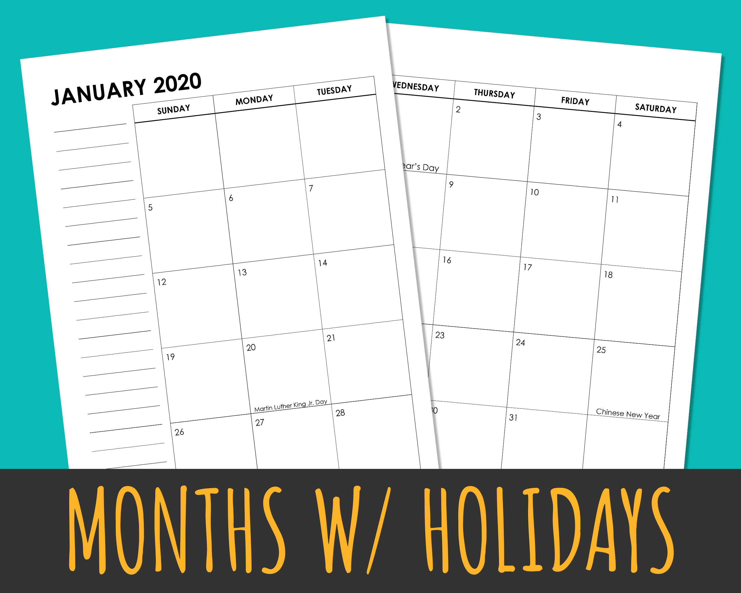 Monthly Calendar with US Holidays