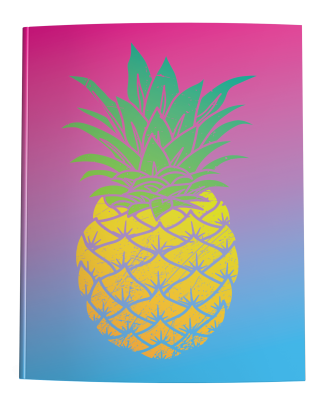 Yellow Pineapple on a Pink to Blue Ombre Gradient