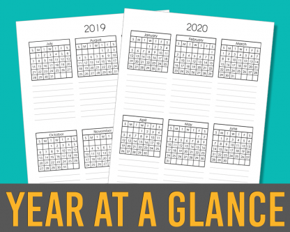 2019-2020 Year at a Glance calendar spread
