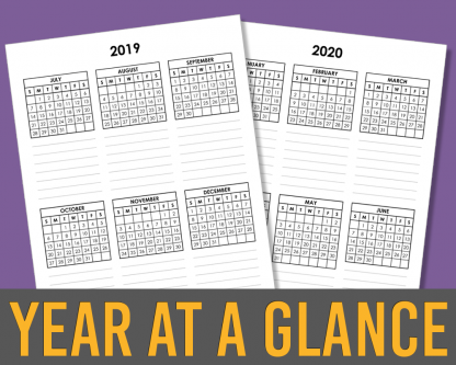 2020 Year At A Glance Mini Calendar Template