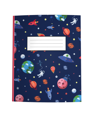 Outer Space Composition Notebook with Astronauts, Aliens, and Planets