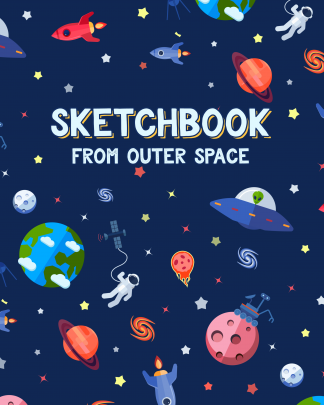 Kid's Sketchbook with Astronauts, Spaceships, Aliens, Planets and other space icons