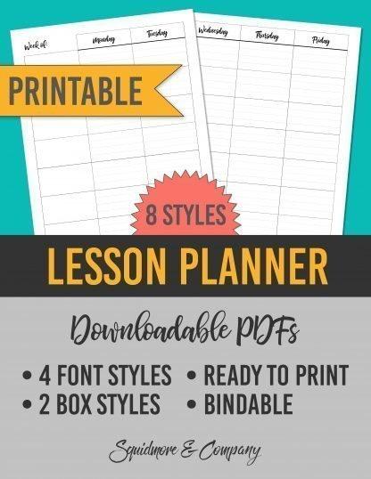 Printable Lesson Planner Template for Teachers