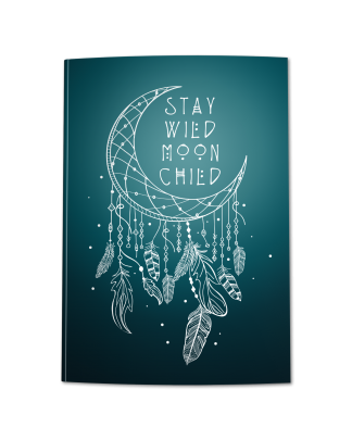 Stay Wild Moon Child Teal Blue Ombre Journal