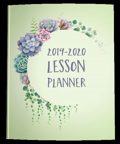 Teacher Lesson Planner Succulent Green