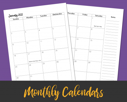 2-Page Calendar Months with Brush Lettering