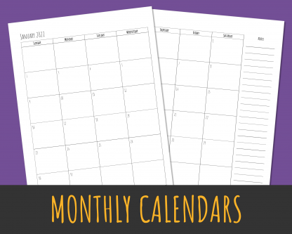 2-page calendar months with US Holidays in Rae Dunn style lettering
