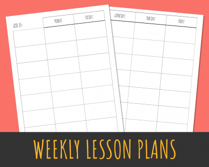 7-Subject weekly lesson planner with Rae Dunn style lettering