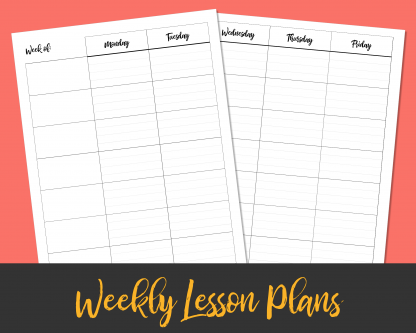 7-Subject Weekly Lesson Plans 2-Page Spread