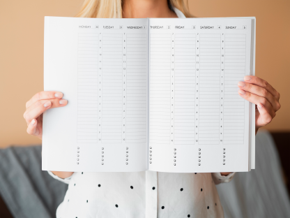Weekly Planner Spread with Daily Schedules in half hour increments. To do checklists below each day.